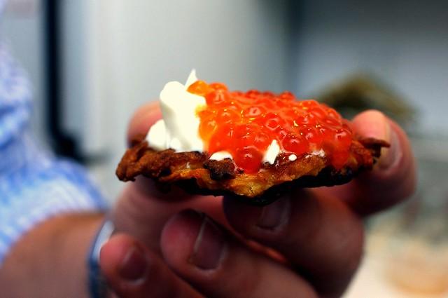caviar/creme fraiche latke