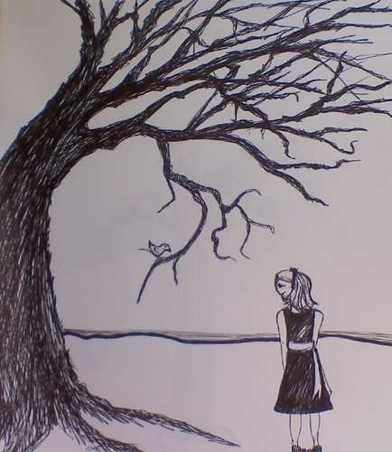 tree and girl sketch