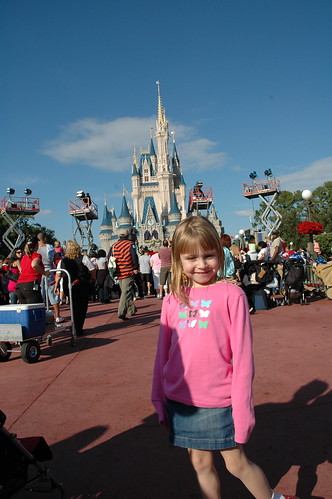 E in front of Cinderella's Castle