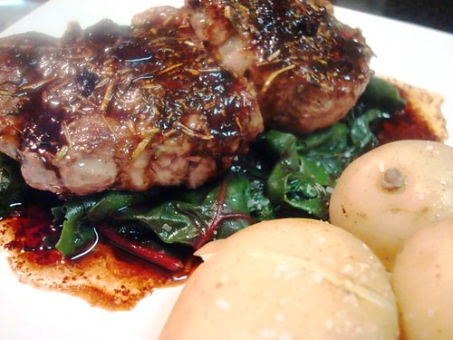 Lamb Chops with Swiss Chard and White Potatoes