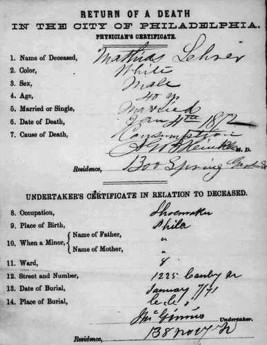Mathias Lehrer Death Certificate01