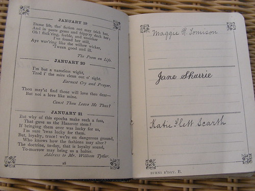 entries in the Burns Birthday Book
