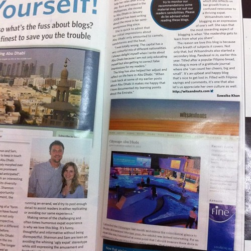 Thanks to Abu Dhabi Week magazine for featuring my blog together with Grapeshisha and Finding Abu Dhabi