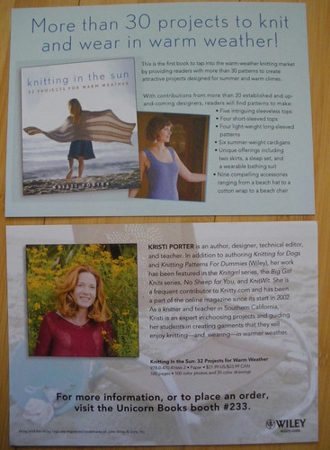Postcards front and back.  The red top that Kristi is wearing is my Alishan pattern!