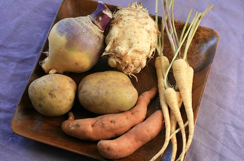 Rutabaga, potatoes, parsnips, and celeric