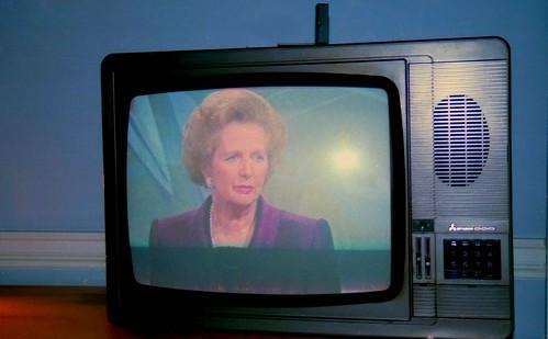 Margaret Thatcher on TV, Grafton Way, London, U.K., 1990.