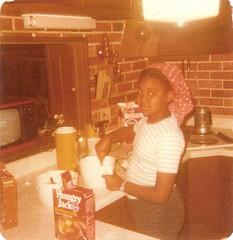 Making breakfast, 1976