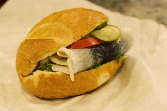 Raw herring sandwich