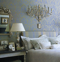 Sheila Bridges: Luxe damask wallpaper in bedroom, from Elle Decor