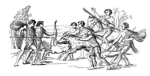 escena de caza-jabali