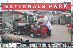 Washington Nationals racing president Teddy Roosevelt skips the race to help the grounds crew