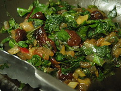 bitter greens with sweet onions and sour cherries