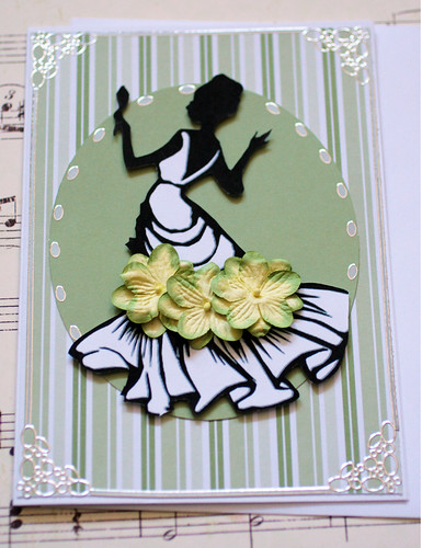 Woman's Silhouette Note Card- Green