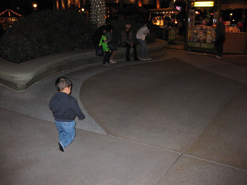 Emmett running towards the Blue Elephant because his safari was about to begin (not really)