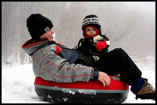Mom and C Sledding 2