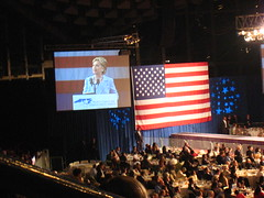 Hillary Clinton speaking at the North Carolina...