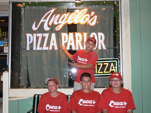 Luke (standing), Billy, Antonio and Kristen outside Angelo's