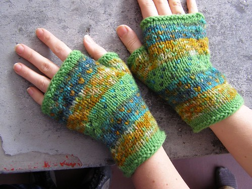watercolor mitts - in action