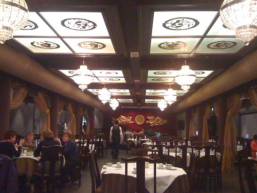 This one is supposedly a top notch Chinese Restaurants, but if you ignore the ridiculous chandeliers, I think the ceiling is quite nice, especially if you think about them without the quite bright fluorescent lights.
