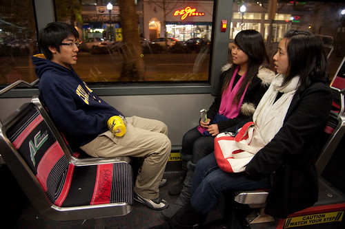 Bus Ride Home. Stephen talking with Fan and Angel