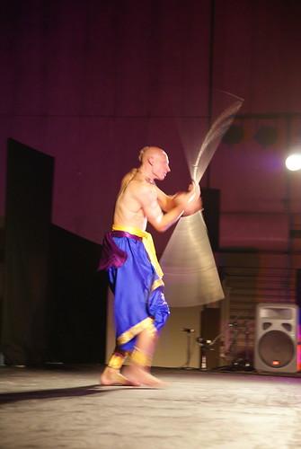 A kshatriya ready to protect - with a steel rod