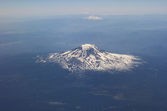 Mount Adams and Mount Hood from plane