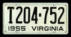1955 Virginia License Plate 1 of 2 Original an...