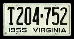 1955 Virginia License Plate 1 of 2 Original an...
