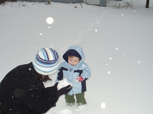 James is dubious about Mom's plan to make a snowball