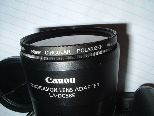 camera with 58mm circular polarizer