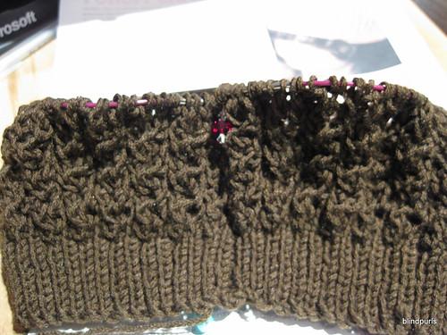 Progress on the Chocolate Porom Hat
