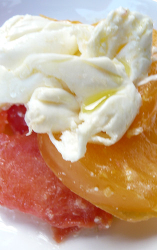 Burrata with heirloom tomatoes