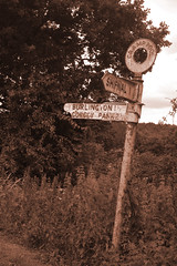 Stumbled upon an old sepia roadsign