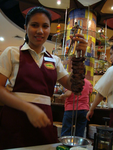 Barbeque being served at Brazil! Brazilian Churrasco