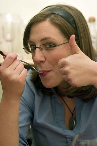Alison enjoying Ricotta Gnocchi