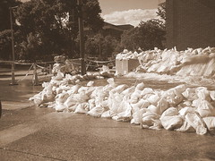 Sandbags on the Burlington Street Bridge