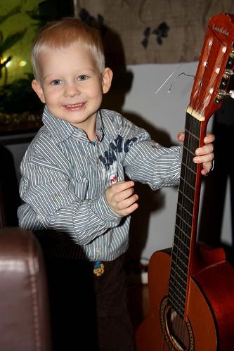 Niilo playing Christmas carols