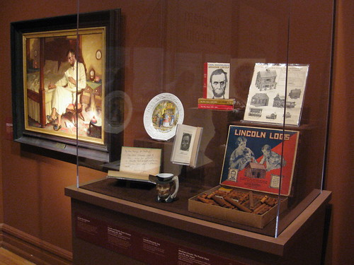 A variety of pop culture Lincolniana, art, and historical documents are included in the exhibit