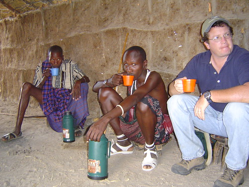 Jon Erickson having chai break with Maasai pastoralists (Photo credit: Michel Masozera from the UVM Photostream)