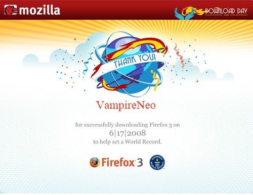 Firefox 3 Download Day certificate