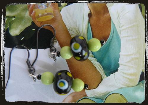 Orecchini verde nero - Lime green and black earrings MEHFTVN