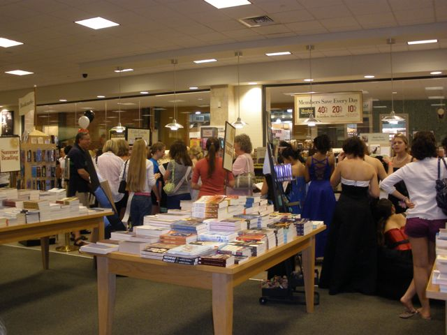 Upstairs, more fans lined up to buy their books. Almost all of them were teenage girls.