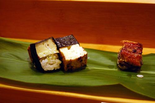 Egg and Eel Nigiri Sushi