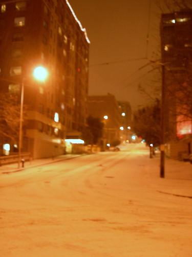 Spooky Seattle Snowy Street at Night