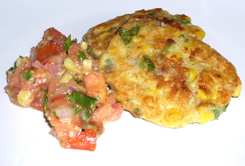 Sweetcorn fritters with tomato and avocado salsa