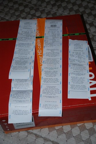 Sears receipts and TiVo HD