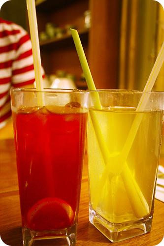 ice lemon tea & pandan lemongrass