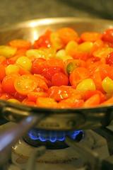making cherry tomato sauce