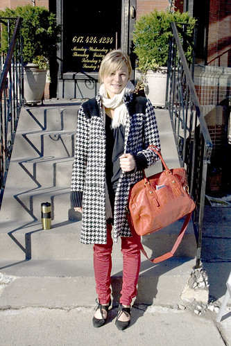 red bag, plaid coat