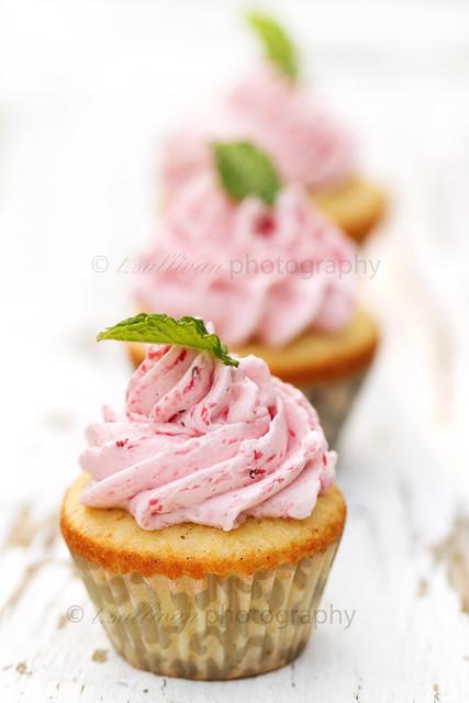 Vanilla Bean Cupcakes with Strawberry Swiss Meringue Buttercream